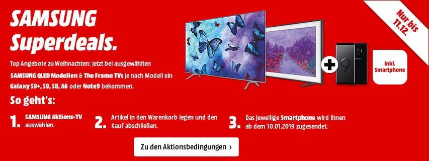 Bild zu MediaMarkt: Zu ausgewählten Samsung Fernsehern ein Samsung Smartphone kostenlos dazu bekommen, z.B. 65 Zoll 4K UHD QLED-TV Samsung GQ65Q7FNG und Samsung Galaxy S8 (64 GB) für 1.789€ (Vergleich: 1.962,95€)