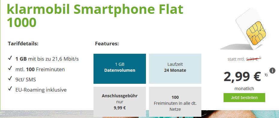 Bild zu Klarmobil Smartphone Flat 1000 im Vodafone Netz (1GB Datenvolumen, 100 Freiminuten, EU-Roaming) für 2,99€/Monat