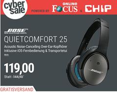Bild zu BOSE Quietcomfort 25 Over Ear Acoustic Noise Cancelling Kopfhörer Schwarz (iOS) für 119€ (Vergleich: 144,90€)