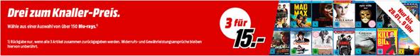 Bild zu MediaMarkt: 3 Blu-rays für 15€