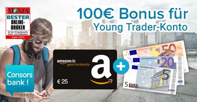 Bild zu 100€ Bonus für kostenloses Consorsbank Young Trader-Konto (für alle zwischen 18 bis 26 Jahren)