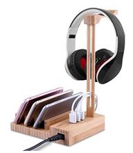 Bild zu Docooler Kopfhörer Ständer aus Holz mit USB 3.0 Ladegerät (3 Ports) für 17,49€