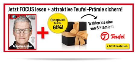 Bild zu [Super] Teufel Produkte dank Abo günstiger als zum Internetbestpreis, so z.B. 26 Ausgaben Focus & Teufel Cinebar für 169€ (Vergleich: 117€ + 199,99€ = 316,99€)