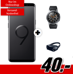 Bild zu Samsung Galaxy S9+ Dual-SIM & Galaxy Watch 46mm BT & Gear VR4 (einmalig alles für 40€) im o2 Free M Boost (20GB LTE, Allnet/SMS Flat) für 34,99€/Monat