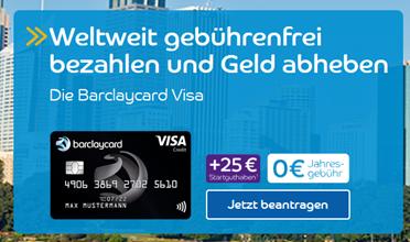 Bild zu [geht noch] Weltweit gebührenfreie Barclaycard Visa mit 50€ Startguthaben