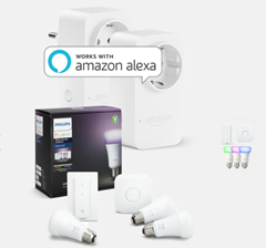 Bild zu Philips Hue White & Color Ambiance Starter Kit E27 + 2x Amazon Smart Plug für 149,85€ + 30€ Cashback