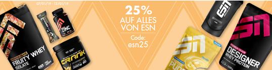 Bild zu Fitmart: 25% Rabatt auf alles von ESN, z.B. 1Kg Designer Whey ab 14,17€