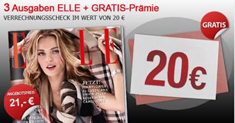 """Bild zu 3 Ausgaben der Zeitschrift """"ELLE"""" für 21€ + 20€ Verrechnungsscheck"""