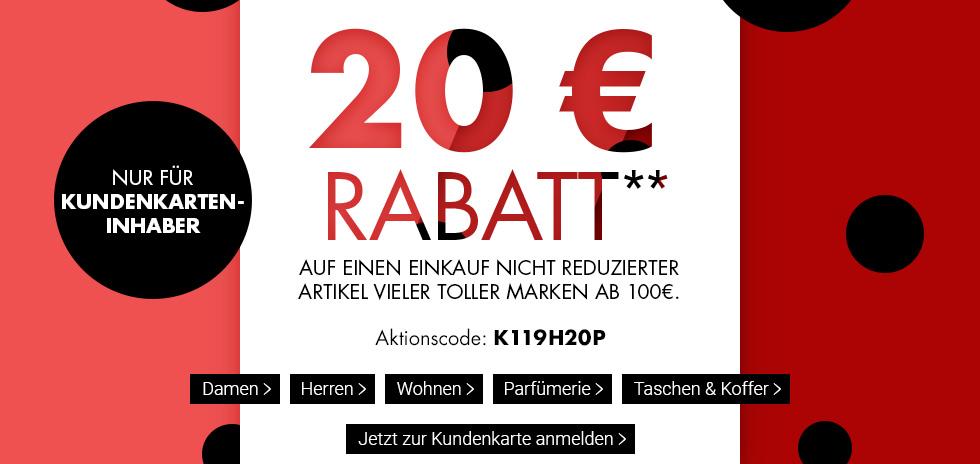 031d7e4a12fc5 Bei Karstadt bekommen nun alle Kundenkarten-Inhaber ganze 20€ Rabatt auf  ausgewählte Artikel. Damit der Rabatt auch abgezogen wird