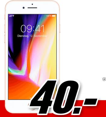 Bild zu Apple iPhone 8 64 GB (einmalig 40€) inkl. Flat Allnet Plus Tarif (2GB Datenvolumen bis zu 42,2 Mbit/s, Allnet-Flat) für 26,99€/Monat
