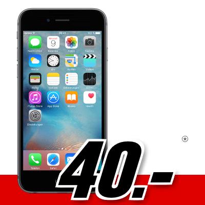 Bild zu Apple iPhone 6S (einmalig 40€) inkl. Super Select S Tarif (3GB LTE Datenvolumen bis zu 50Mbit/s, Allnet/SMS-Flat) für 14,99€/Monat