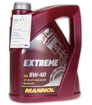 Bild zu MANNOL 5 Liter SAE 5W-40 Extreme Motoröl für 14,99€ inkl. Versand (Vergleich: 18€)