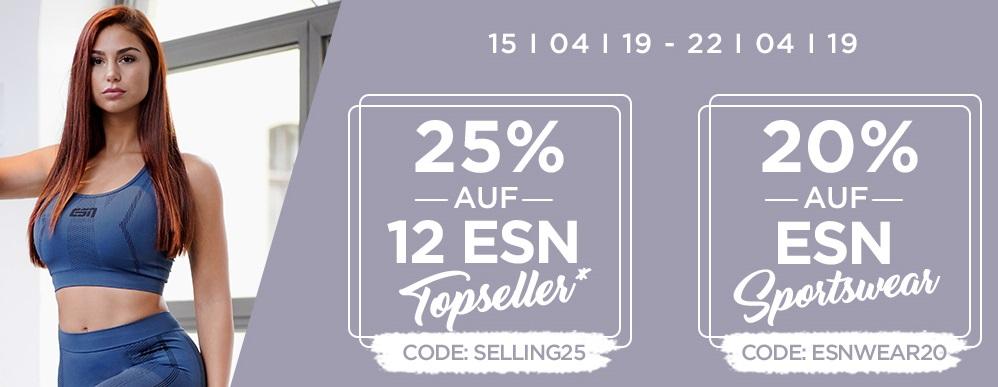 Bild zu Fitmart: 25% Rabatt auf 12 ESN Topseller oder 20% Rabatt auf ESN Sportswear