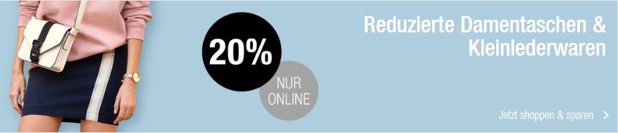 Bild zu Galeria Kaufhof: 20% Rabatt auf reduzierte Damentaschen & Kleinlederwaren