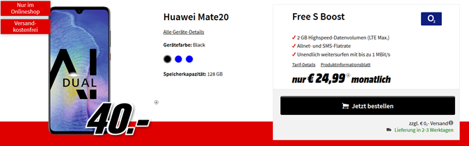 Bild zu Huawei Mate 20 mit dem o2 Free S Boost mit einer 2GB LTE Datenflat, SMS und Sprachflat für 24,99€/Monat