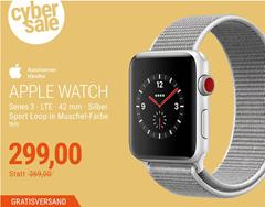 Bild zu Apple Watch Series 3 LTE 42mm Aluminiumgehäuse Silber für 299€ (Vergleich: 388,33€)
