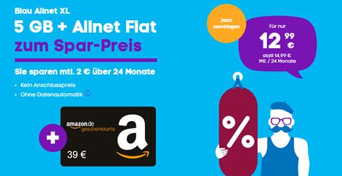 Bild zu Blau: Allnet-Flat & 3GB LTE für 7,99€ + 24€ Amazon.de-Gutschein oder 5GB LTE für 12,99€ + 39€ Amazon.de-Gutschein im o2 Netz