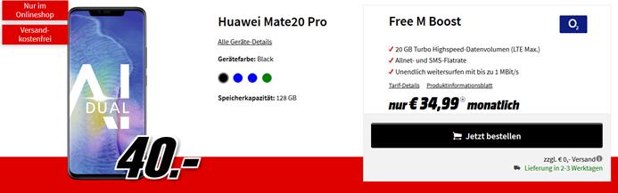Bild zu Huawei Mate 20 Pro (einmalig 40€) mit o2 Free M Boost Tarif (20GB LTE Datenvolumen, Allnet/SMS-Flat, EU-Roaming) für 34,99€/Monat