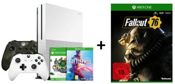 Bild zu [Knaller] XBOX ONE S 1 TB + ArmedForces II Controller, 12 Monate GamePass (100 Spiele) +Battlefield V & 1 & 1943 + Fallout 76 für 231€