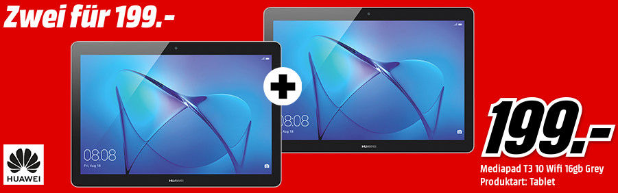 Bild zu Doppelpack 2x HUAWEI MediaPad T3 10 WiFi 16 GB 9.6 Zoll Tablet für 199€ inkl. Versand (Vergleich: 250€)
