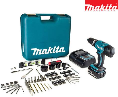 Bild zu Makita DHP453SFTK Schlagbohrschrauber + Akku + 101-tlg. Zubehörsatz für 158,90€ inkl. Versand (Vergleich: 193€)
