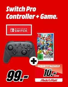 Bild zu Nintendo Switch Pro-Controller + Super Smash Bros. Ultimate + 10€ MediaMarkt Gutschein für 99€  (Vergleich: 111,59€)