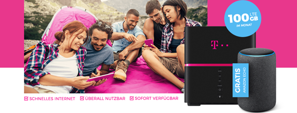 Bild zu 100GB LTE Internet Flat im Telekom Netz inkl. Speedbox (mobiler Router) + Amazon Echo der 2. Generation für 27,45€ (junge Leute) bzw. 37,45€ im Monat