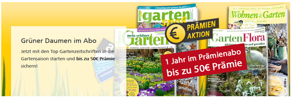 """Bild zu [Super] Gartenzeitschriften günstig beim Leserservice der Deutschen Post, so z.B. das Jahresabo """"GartenFlora"""" für 44,20€ mit bis zu 50€ Prämie"""