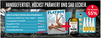 Bild zu 6 Ausgaben Playboy (Wert 39,60€) inkl. BOAR Blackforest Premium Dry Gin sowie 4 Flaschen Schwarzwald Tonic (Vergleich: 44,80€) für 40,60€