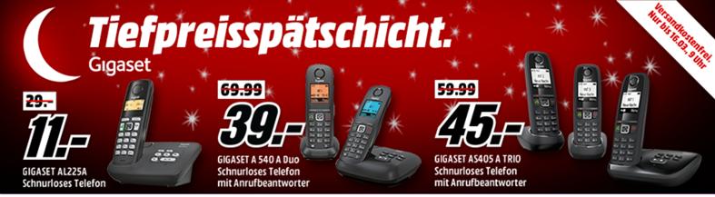 Bild zu MediaMarkt Tiefpreisschicht mit Angebote für Telefone von Gigaset, so z. B. Gigaset AL225 A für 11€ inkl. Versand (Preisvergleich: 29€ inkl. Versand)