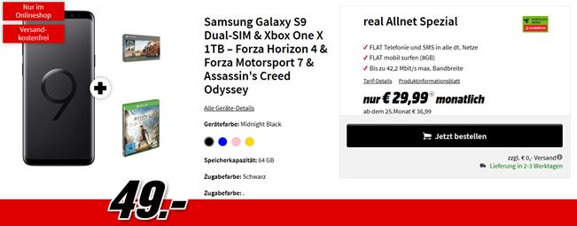 Bild zu [Super] Samsung Galaxy S9 Dual-SIM & Xbox One X 1TB – Forza Horizon 4 & Forza Motorsport 7 & Assassin's Creed Odyssey für 49€ im Vodafone Tarif mit 8GB Datenflat,SMS und Sprachflat für 29,99€/Monat