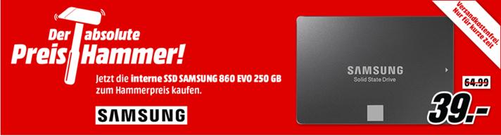 Bild zu [TOP] MediaMarkt Preishammer: Samsung 860 EVO 250 GB interne SSD für 39€ inkl. Versand (Vergleich: 57,90€ inkl. Versand)