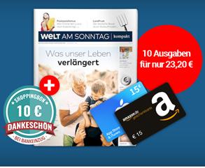 Bild zu WELT AM SONNTAG Kompakt Probeabo (10 Wochen) mit 15€ Amazon.de-Gutschein + 10 € ShoppingBon für 23,20€