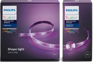Bild zu Philips Hue »LightStrip 300 cm (Base 200 cm + Erweiterung 100 cm) für 59,49€ (Vergleich 74,39€)