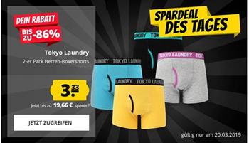Bild zu SportSpar: Tokyo Laundry Boxershorts im Doppelpack für je 3,33€ zzgl. Versand
