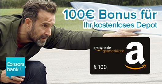 Bild zu [nur noch heute] 100€ Amazon.de* Gutschein für kostenloses Consorsbank Depot