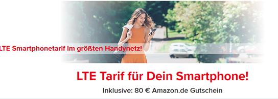 Bild zu [Top] o2 Netz mit 4GB LTE Datenflat, SMS und Sprachflat für 14,99€/Monat (6 Monate Mindestvertragslaufzeit = 89,94€ Kosten) inkl. 80€ Amazon.de Gutschein