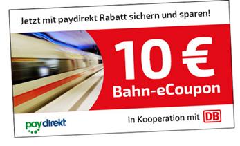 Bild zu 10€ Bahn.de Coupon (ab 29,90€ einlösbar) bei Zahlung mit Paydirekt