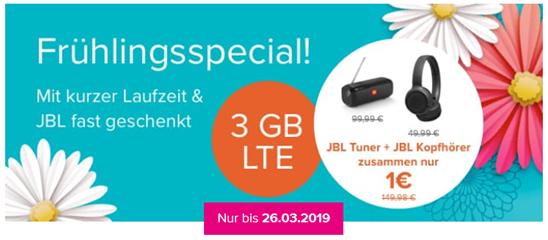 Bild zu [Knaller – bis 26.03.] JBL Tuner (Vergleich: 86,99€) + JBL Tune 500BT (Vergleich: 45€) für 1€ mit o2 Tarif (6 Monate Mindestlaufzeit) mit 3GB LTE, SMS und Sprachflat für 12,99€/Monat