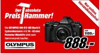 Bild zu OLYMPUS OM-D E-M5 Mark II Pancake Zoom Kit Systemkamera (16.1 Megapixel mit Objektiv 14-42 mm f/5.6, 7.6 cm Display , WLAN) für je 888€ (Vergleich: 979€)