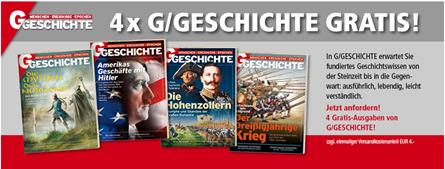 """Bild zu 4 Ausgaben der Zeitschrift """"G/Geschichte"""" für 4€ (statt 22,80€)"""