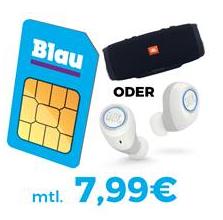 Bild zu Blau Allnet L (3GB LTE Daten + Allnet Flat + SMS Flat) inkl.  JBL Charge 3 (Vergleich: 114,95€) oder Free X Kopfhörer (Vergleich: 118,09€) für je 39€ für 7,99€/Monat