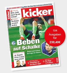 """Bild zu Jahresabo (104 Ausgaben) """"Kicker"""" für 236,60€ + 120€ Verrechnungsscheck als Prämie (oder 130€ Amazon.de Gutschein)"""