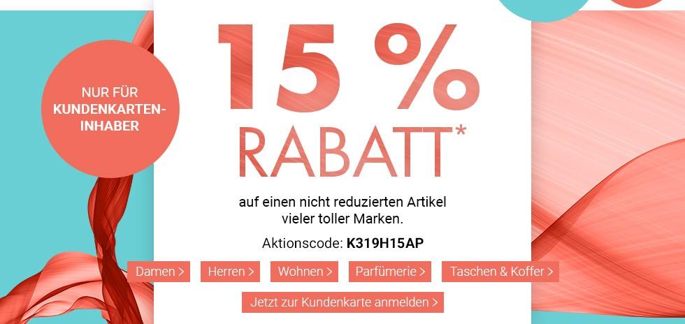 Bild zu Karstadt: 15% Rabatt auf einen nicht reduzierten Artikel toller Marken (nur für Kundenkarten-Inhaber)