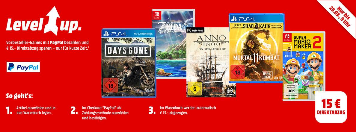 Bild zu MediaMarkt: 15€ Direktabzug beim Kauf von ausgewählten Top-Games bei Zahlung per Paypal