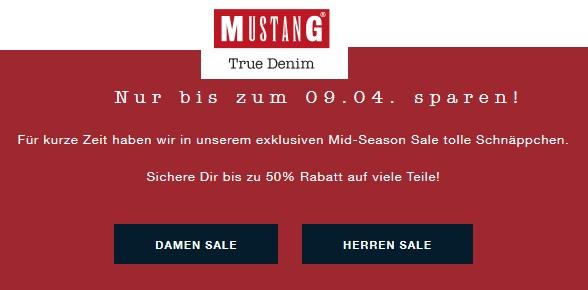 Mustang: Mid Season Sale mit bis zu 50% Rabatt + 10% Extra