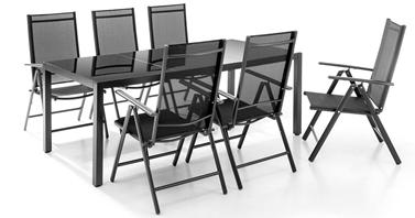 Bild zu Chillroi 7 teiliges Gartenset (6 Stühle + Tisch) aus Aluminium in Anthrazit für 233,95€