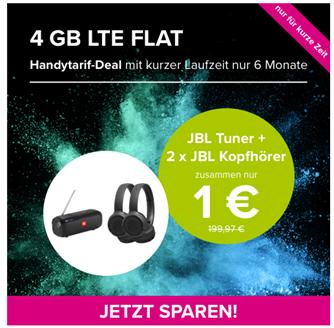 Bild zu [Knaller] JBL Tuner + 2 x JBL Tune 500BT Kopfhörer für 1€ (Vergleich: 168,88€) mit o2 Tarif (6 Monate Mindestlaufzeit) mit 4GBLTE, SMS und Sprachflat für 14,99€/Monat (100,93€ Gesamtkosten)