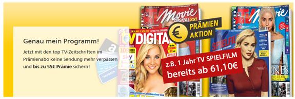 Bild zu Deutsche Post Leserservice: TV Zeitschriften Jahresabos mit bis zu 105€ Prämie, so z.B. TV Spielfilm für 56,10€ + 55€ Prämie