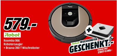 Bild zu iRobot Roomba 966 Staubsaugerroboter + iRobot Braava 390t Nasswischroboter für 583,99€ (Vergleich: 796,98€)